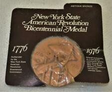 New York State American Revolution Bicentennial Antique Bronze Medal in Plastic