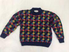 """Original Vintage Knit Multi-Colour Colourful Jumper Sweater """"Net Club"""" - Size M"""