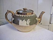GIBSON TEAPOT  STAFFORDSHIRE ENGLAND STILL WITH TAG  GREEN GOLD WHITE