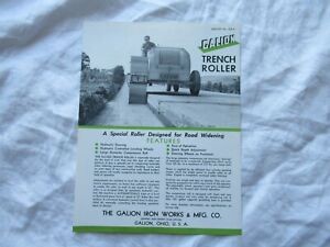 1955 Galion trench roller specification sheet brochure