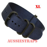 PREMIUM ZULU 5 Ring PVD NAVY BLUE Military Diver's Watch Strap Band NYLON SS