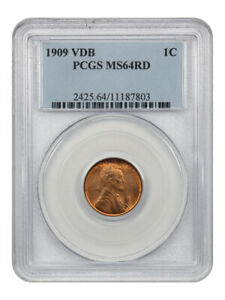 1909 VDB 1c PCGS MS64 RD - Lincoln Cent