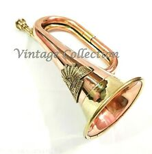 """Brass & Copper 12"""" Bugle Australian Military Forces Commonwealth with Rising Sun"""