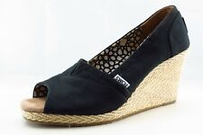 Toms Size 8.5 M Black Open Toe Wedge Fabric Wmn