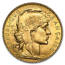 Random Year 0.1867 oz French 20 Franc Rooster Gold Coin About Uncirculated AU