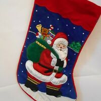 Vintage Christmas Stocking Santa Clause With Toy Bag Applique Blue Red