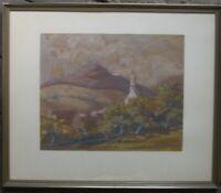 Guazzo Castello Hohenzollern Dipinto Autografato Antico Telaio circa 1930 Chiesa