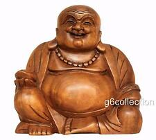 "8"" Wood Handcrafted Happy Buddha Smiling Art Statue Sculpture Figurine Carved"