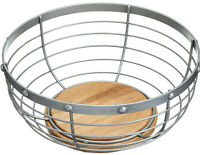 Industrial Kitchen Large 28cm Wire Metal & Wood Fruit Bowl / Basket