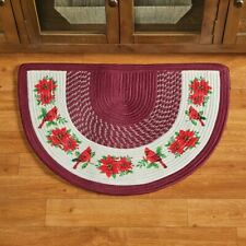 Cardinal & Poinsettia Braided Christmas Kitchen Slice Home Accent Rug