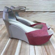 Calvin Klein Womens Shoes Sz 6M Eavan Faux Fish Scale Platform Sandal Pink Nude