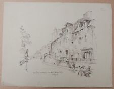 Dibujo Antiguo Tinta Wilfrid Henry DEVILLE Paisaje Calle Hermitage Nantes 1934