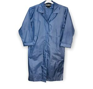Totes Rain Coat w Hood Duster Trench Water Repellant Blue Size 12 -16 Women's