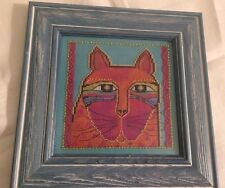 Mill Hill Laurel Burch Beads Cross Stitch finished completed orange cat framed