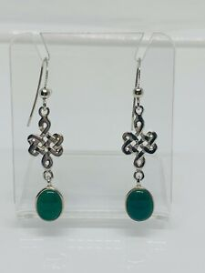 Gorgeous Chrysoprase Agate Celtic Entwined Knot Drop Earrings 925 Silver #13452