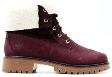 "New Timberland 6"" WP Womens Purple Nubuck Fleece Collar Fold Boots US 8 EU 39"