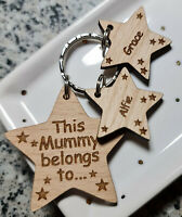 PERSONALISED GIFTS FOR HER MOTHER'S DAY GIFT BIRTHDAY WOODEN KEYRING NAN MUMMY