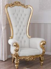 Poltrona Regina stile Barocco Francese trono foglia oro ecopelle bianca bottoni
