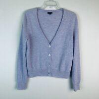 Talbots Women's sz L lavender purple button down lambswool mix cardigan sweater