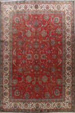 Vintage Red/Ivory Floral Tebriz Area Rug 10x13 Hand-Knotted Wool Oriental Carpet
