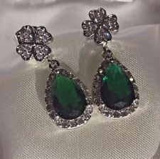 K15 Sim diamond 4 leaf clover & pear emerald white gold gf earrings CRUISE boxed