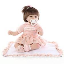 18in.Reborn Baby Doll Soft Silicone Orange Dress Eyes Open Magnet kids gift 45cm