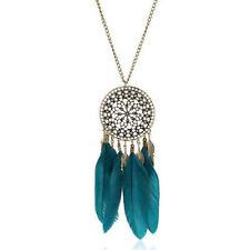 Fashion Women Retro Dream Catcher Feather Pendant Long Sweater Chain Necklace