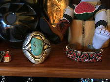 Beautiful Turquoise Old Pawn Sterling Silver Navajo Cuff Shadowbox Bracelet