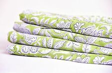 10 Yard Indian Printed Pure Cotton Fabric Green Natural Dyed Block Print Fabric