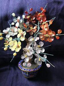 Antique Chinese jade agate Pink Quartz floral blossom cloisonné enamel pot tree