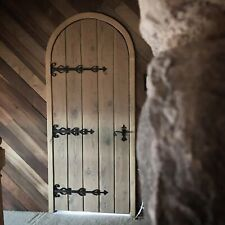 Rustic reclaimed lumber arch door solid plank wood wine cellar castle iron
