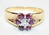 Vintage 18ct Gold Ruby & Diamond Cluster Ring Size J