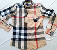 BURBERRY LONDON MENS CAMEL CASUAL SHIRT NEW WITH TAGS