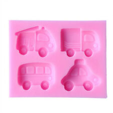4 Vehicle Silicone Mould, Car Bus Truck/Lorry Fire Engine cake Icing decoration