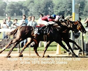 """1978 - AFFIRMED & ALYDAR at the Belmont Stakes Finish Line - Color - 10"""" x 8"""""""