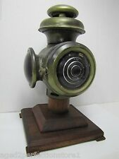 Antique Buggy Carriage Lamp mounted wood base old transportation light display