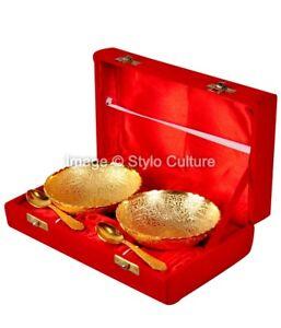 Indian Royal Gold Bowls Handmade Dinnerware Serving Dishes 2 Bowls 2 Spoon 1Box