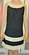 Vintage Black Dress Linen Shift Work Office School Cosplay Womans Size 6