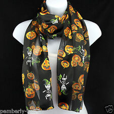 Skeleton Witch & Pumpkins Womens Scarf Halloween Scarfs Gift Black Scarves New
