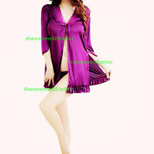 New Women Pajama Set Sleepwear Long Sleeve Nightgown Lounge Cotton Top Lingerie
