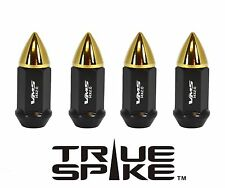 """20PC VMS RACING 60MM 9/16"""" STEEL EXTENDED LUG NUTS W/ 24K GOLD BULLET SPIKES B"""
