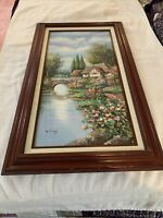 """B Trapp Signed English Country Manor. Hand Painted. 17.5 By 29.5 """"."""