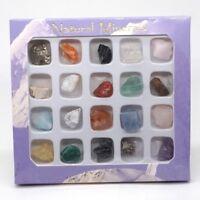 20Pcs Rock Collection Mix Gems Crystals Natural Mineral Ore Specimens Box Decor