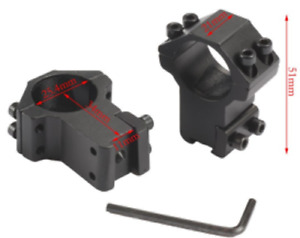 High Profile Rifle Scope Ring fits 25.4mm Tube and 11mm Dovetail Base