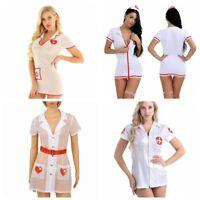 Women Nurse Doctor Mini Fancy Dress Costume Faux Leather Uniform Scrub Naughty