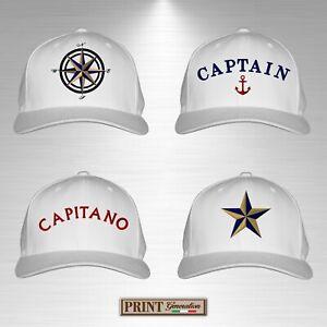 Cappello bianco ricamato oro nautico barca capitano marinaio mare atlantis vela