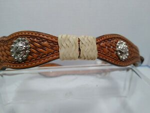 Western Leather Brown Concho Silver tone Belt size 24 Woven look
