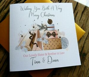 """Handmade Personalised Christmas Card Family Friends Anyone 6"""" Square  AA2"""