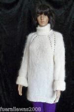 handgestrickt Pullover Langhaar Mohair G 38 40 weiß hand knitted Made in Germany