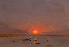Dream-art Oil painting sunrise landscape with bird in the river hand painted art
